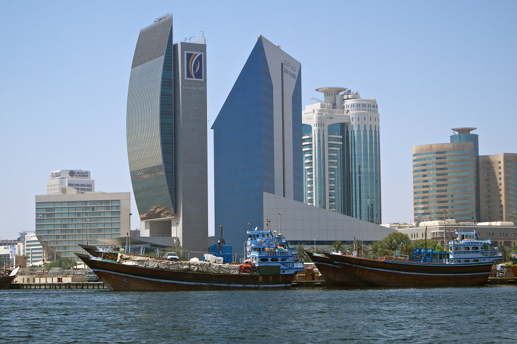 Cityscape of Deira observed from the Duabi Creek