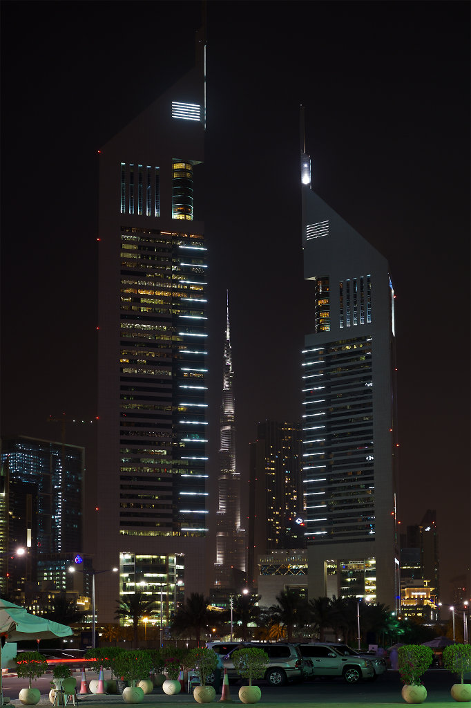 Emirates Towers at night