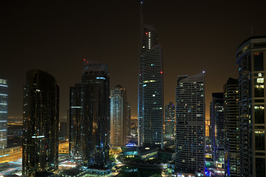 Jumeirah Lake Towers at night from above