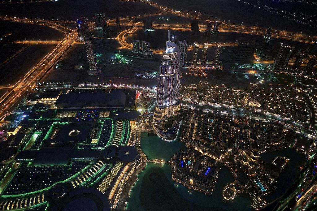Burj Khalifa Lake & Downtown Dubai after sundown