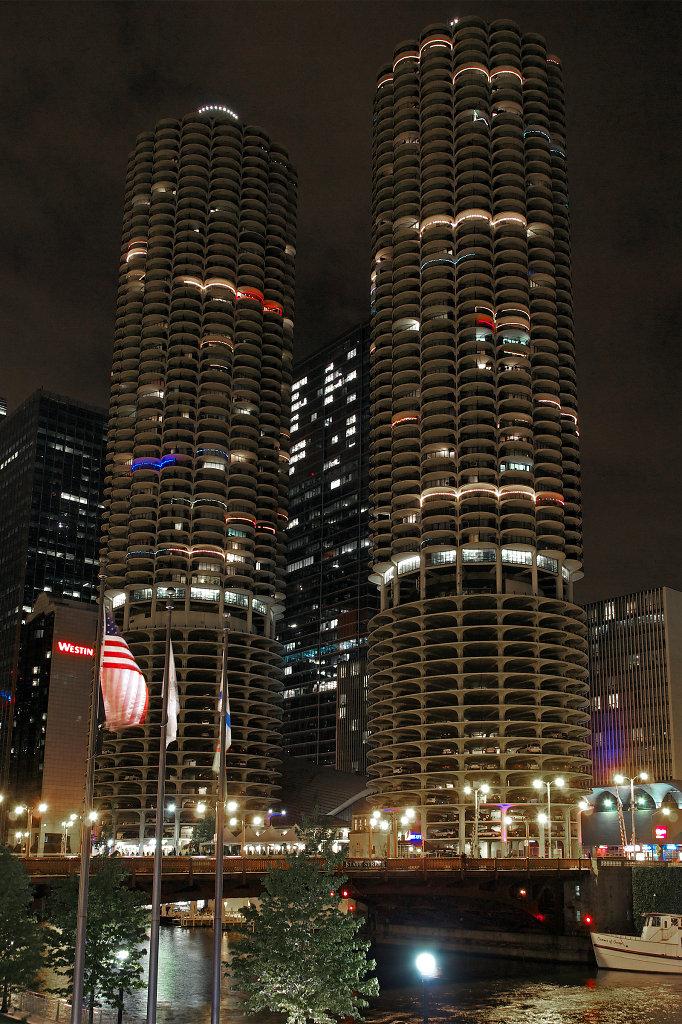 Marina City at night