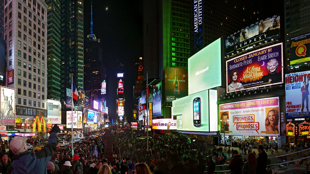 Busy Times Square at night