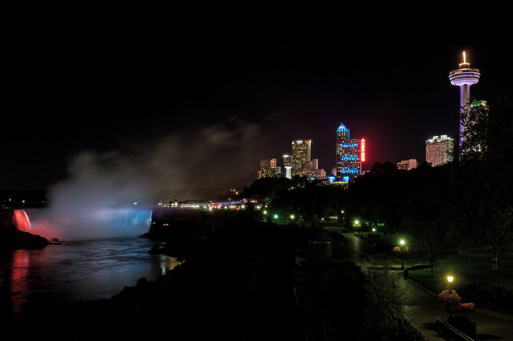 Horseshoe Falls and Fallsview tourist area at night