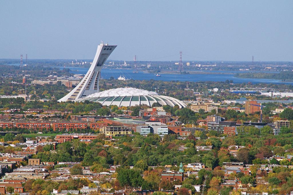 Aerial view of the Stade Olympique de Montréal